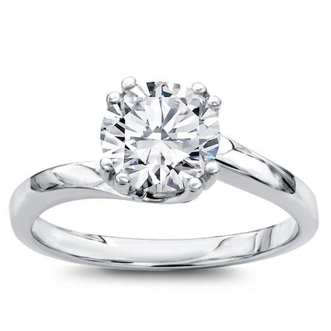 Solitaire Swirl Engagement Setting 14K White Gold