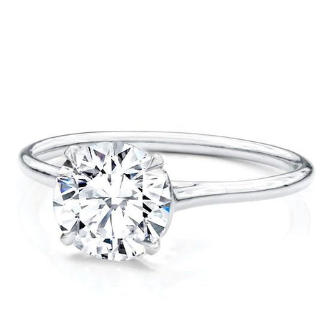 ROUND Custom Fit Basket Solitaire Setting 1.5mm 14K White Gold