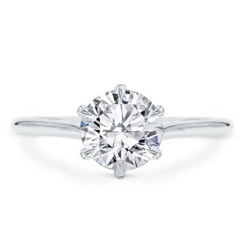 6 Prong Basket Solitaire 14K White Gold