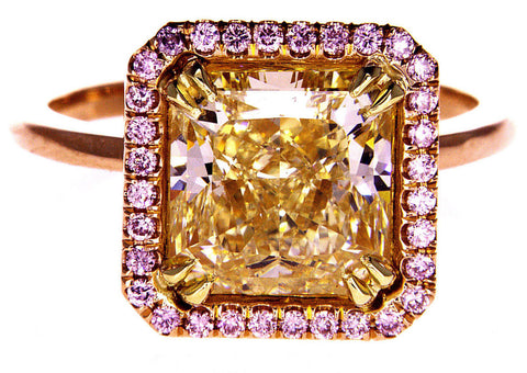 4.5 Carat GIA Certified Natural Fancy PINK Yellow Rose Gold DIAMOND Engagement Ring
