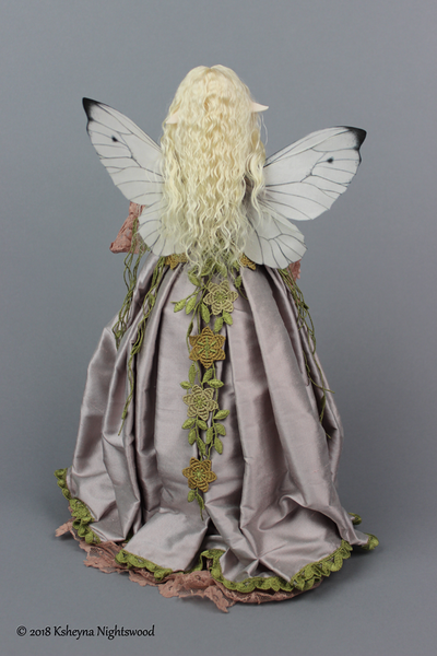 OOAK art doll with hand made silk fairy wings