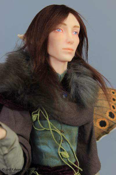 OOAK art doll - Fairy King Oberon detail.