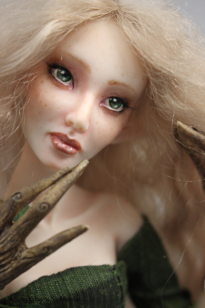 OOAK dryad nymph art doll closeup