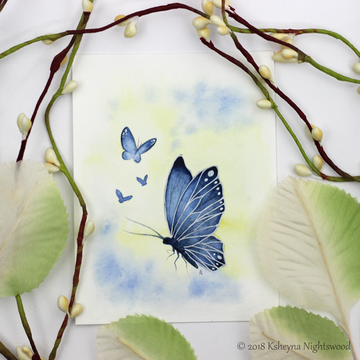 Blue Butterfly - Original Watercolour Painting
