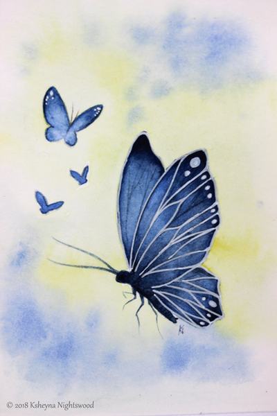 Original Watercolour - Blue Butterfly