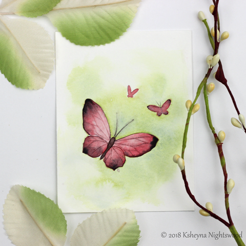 Original Watercolour - Red Butterfly