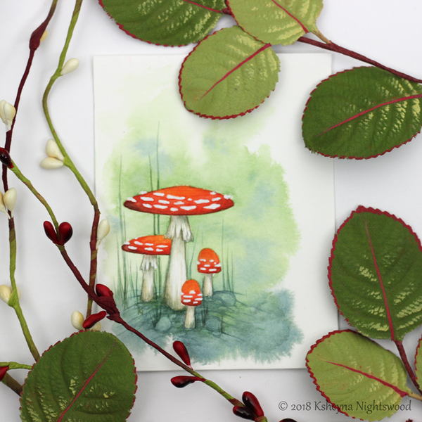 Original Watercolour - Faerie Mushrooms