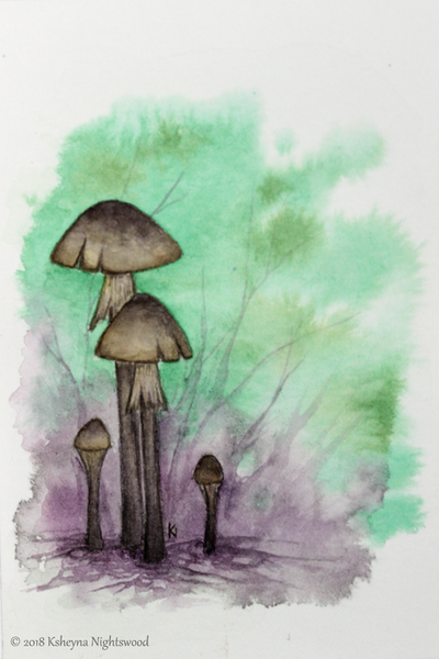 Tall Faerie Mushrooms - Original Watercolour Painting