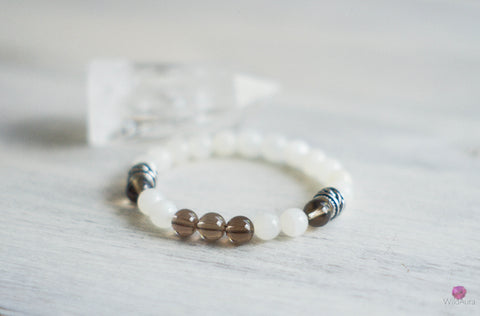 Moonstone and Smoky Quartz Gemstone Bracelet