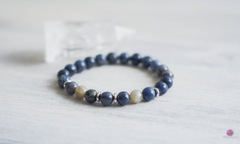 Dumortierite and Labradorite Gemstone Bracelet