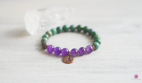 Amethyst and African Jade Gemstone Bracelet