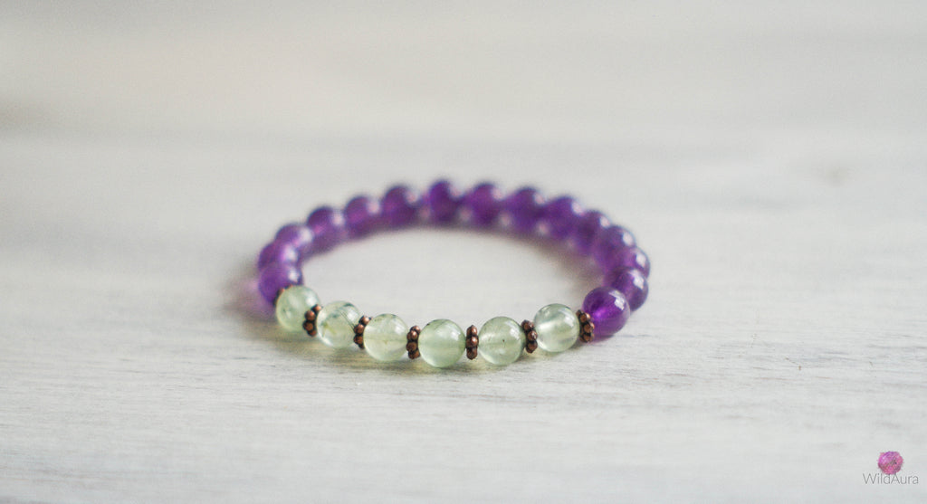 Amethyst and Prehnite Gemstone Bracelet
