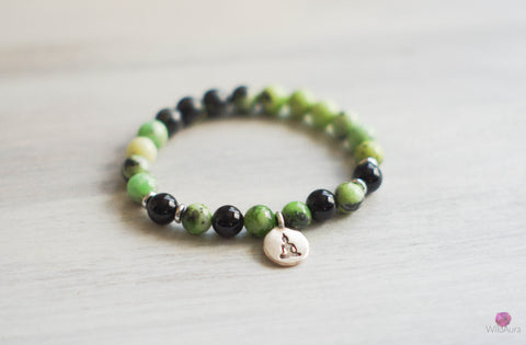 Chrysoprase and Onyx Gemstone Bracelet