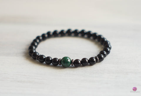 Malachite and Onyx Gemstone Bracelet