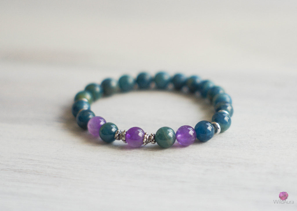 Apatite and Amethyst Gemstone Bracelet