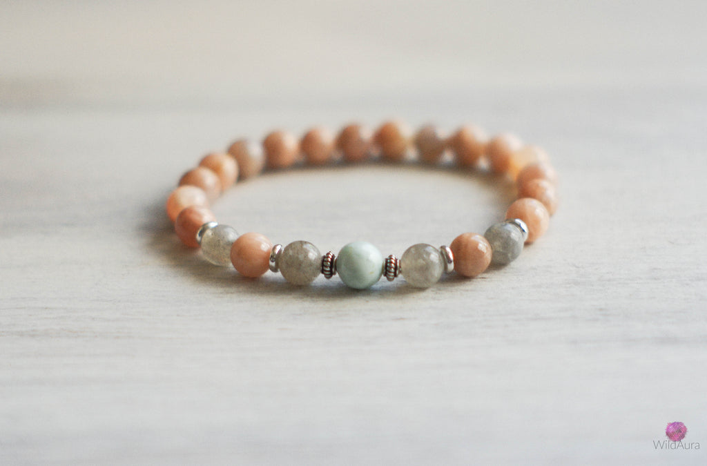 Sunstone and Larimar Gemstone Bracelet