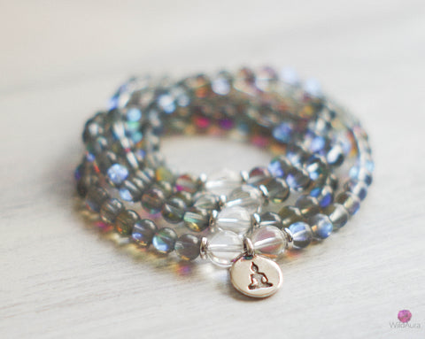 FOCUS Grey Aura Quartz 108 Mala