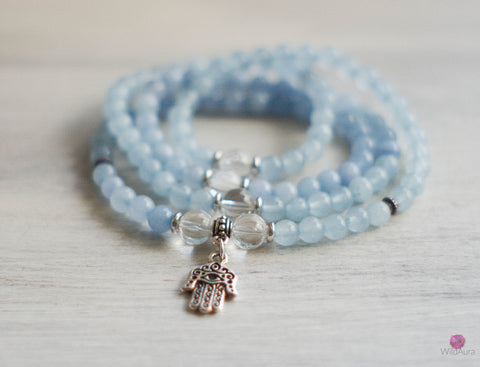 CLEANSE BALANCE Blue Quartz 108 Mala