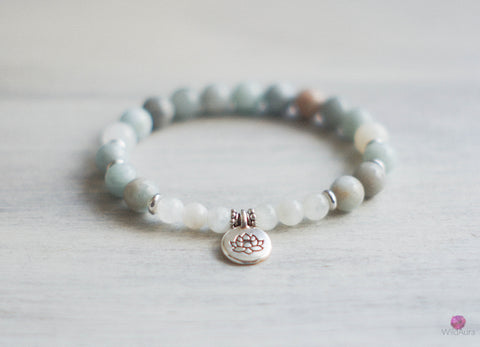 Aquamarine and Moonstone Gemstone Bracelet