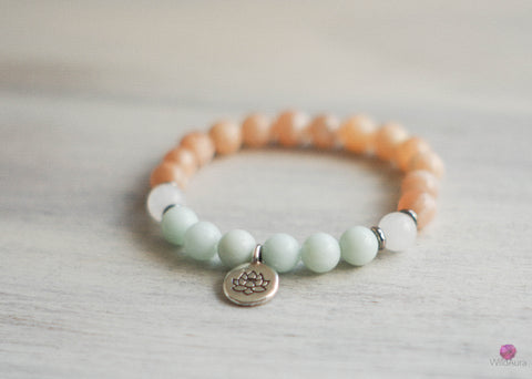 Amazonite and Sunstone Gemstone Bracelet