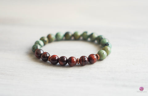 Turquoise and Tiger's Eye Gemstone Bracelet