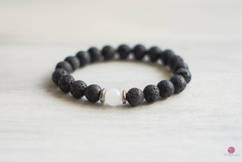 Lava Rock and Quartz Gemstone Bracelet