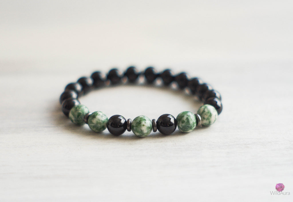 Tree Agate and Onyx Gemstone Bracelet