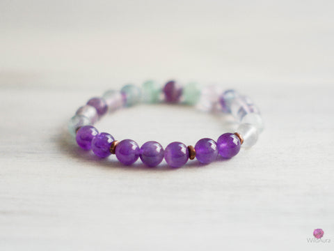 Amethyst and Rainbow Fluorite Gemstone Bracelet