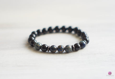 Blue Jasper and Onyx Gemstone Bracelet