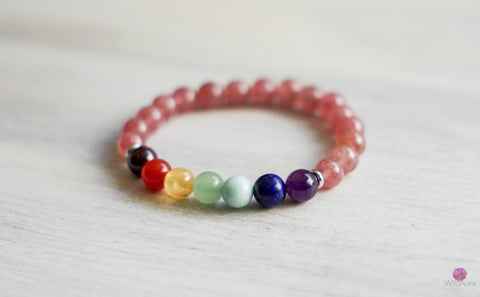 7 Chakra Strawberry Quartz Bracelet