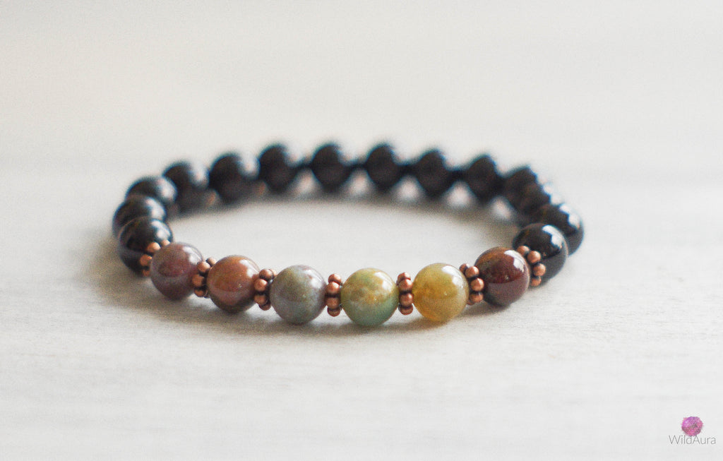 Jasper and Onyx Gemstone Bracelet