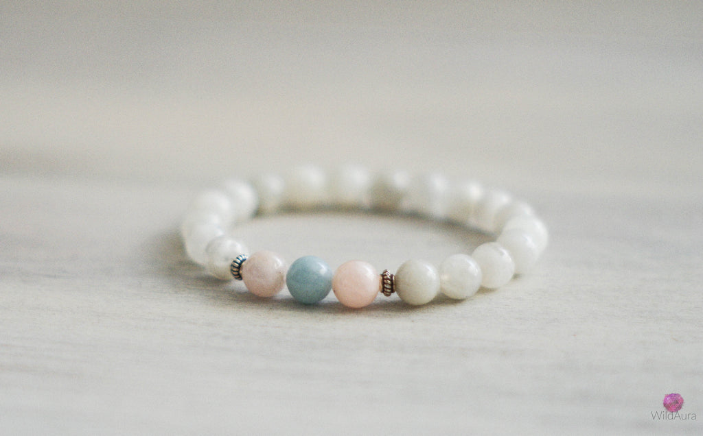 Moonstone and Morganite Bracelet