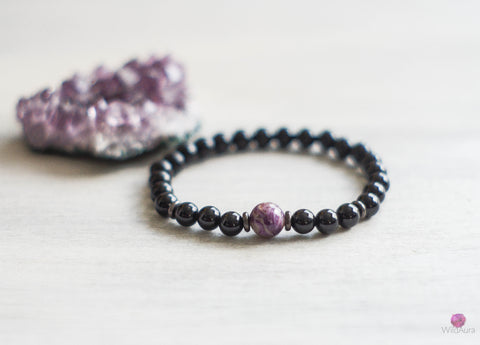 Charoite and Onyx Gemstone Bracelet