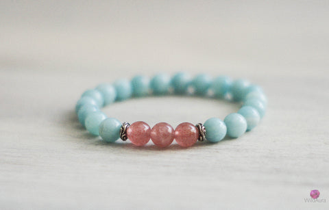 Strawberry Quartz and Amazonite Bracelet