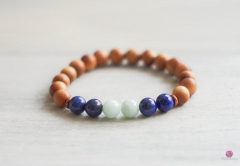 Amazonite and Sandalwood Bracelet