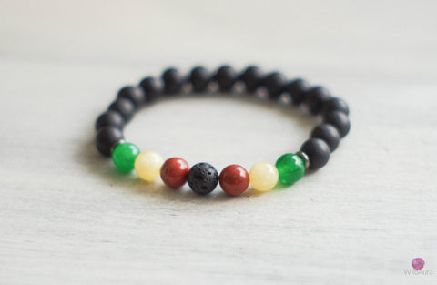 Rasta Sea Glass and Gemstone Bracelet