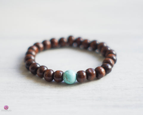 Magnesite and Wood Bead Gemstone Bracelet