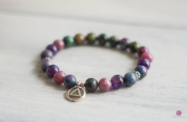 Kyanite and Lepidolite Gemstone Bracelet