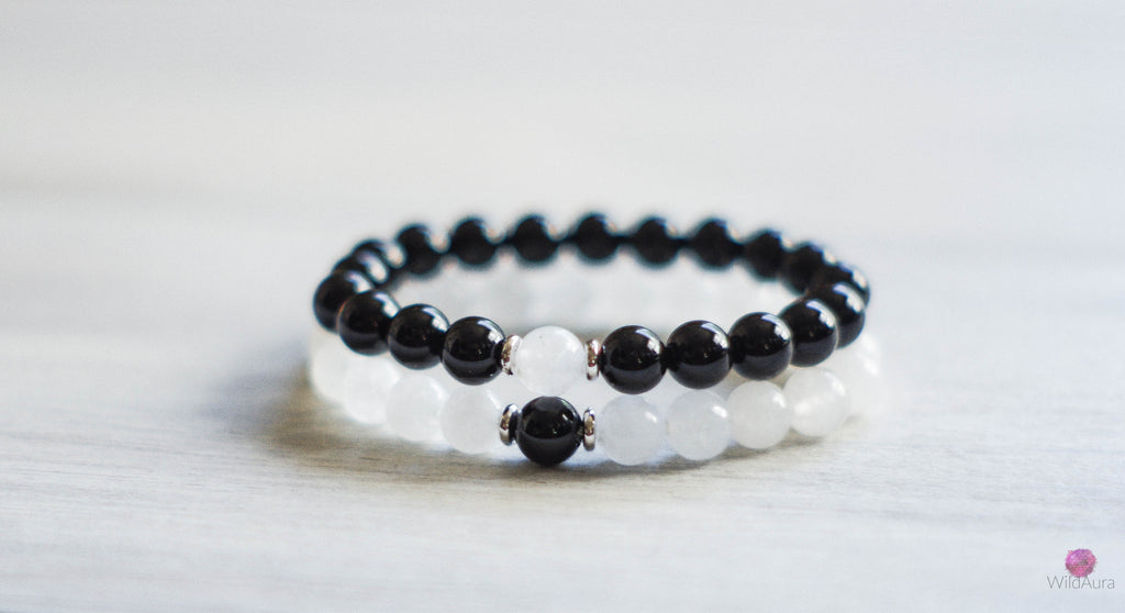 Onyx and Quartz Bracelet Pair