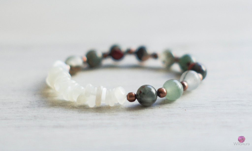 Bloodstone and Moonstone Gemstone Bracelet