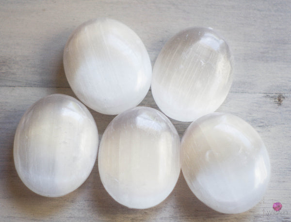 Selenite Palm Stone - Spiritual Work, Mental Clarity, Serenity
