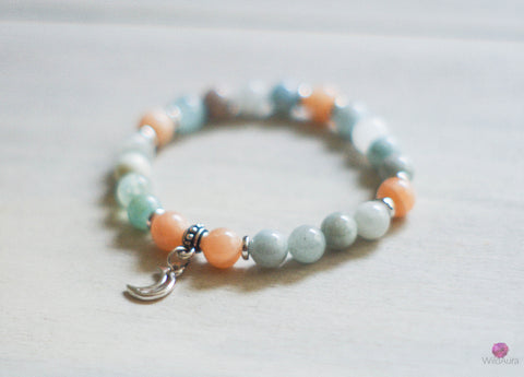 Aquamarine and Sunstone Gemstone Bracelet