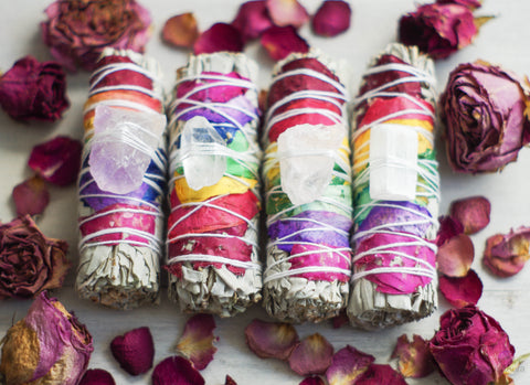 Chakra Rose and Gemstone Smudge Stick