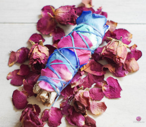 White Sage and Rose Smudge Stick