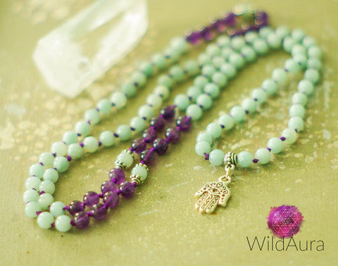 PEACE CREATIVITY 108 Mala Amethyst and Amazonite