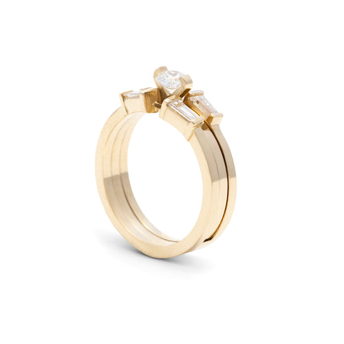Maggie Wedding & Engagement Interlock Ring 14k Gold with 1.5ct Diamond - Nicolas Ambrosio