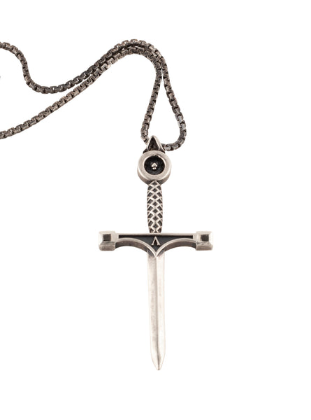 Sword Necklace Black Sterling Silver