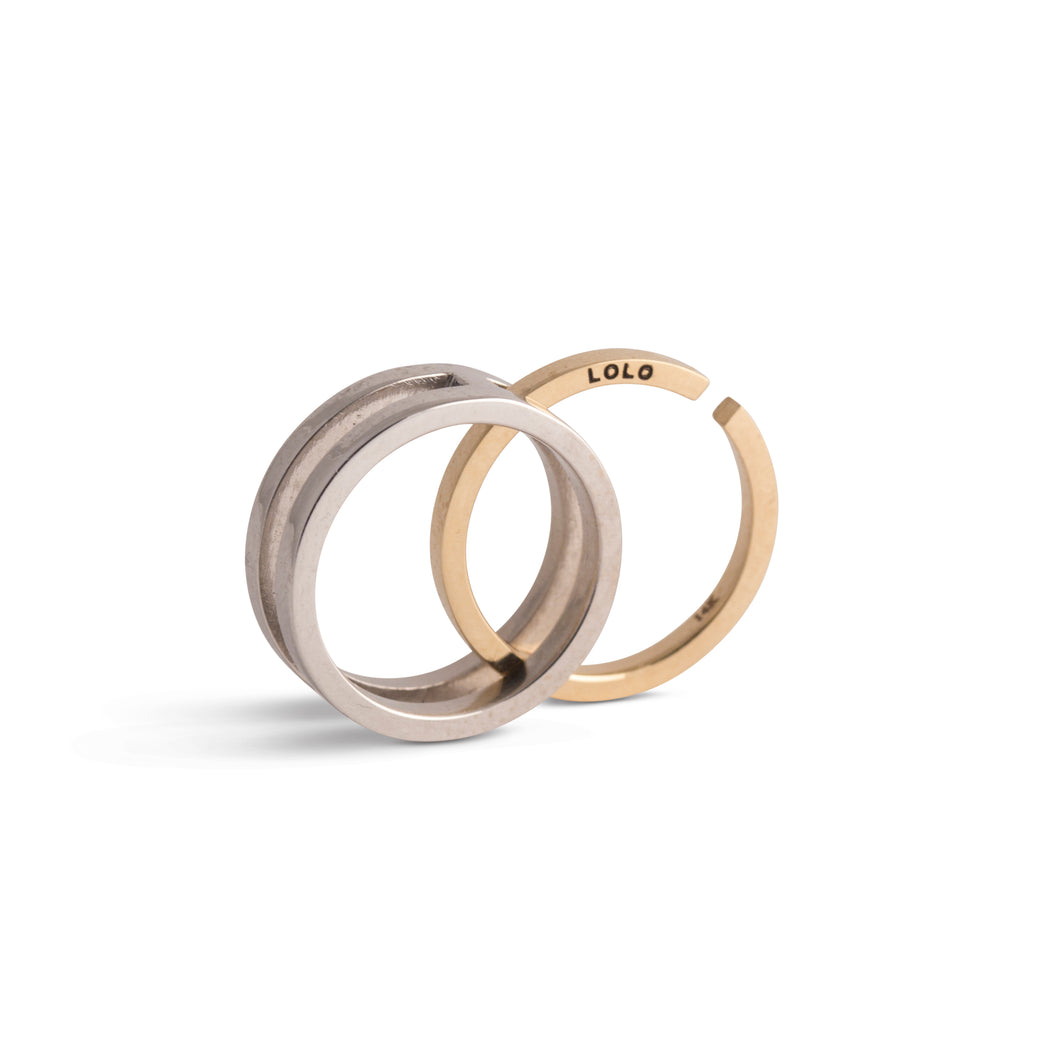 Lolo & Lore Wedding & Engagement Interlock Ring  14K White and Yellow Gold