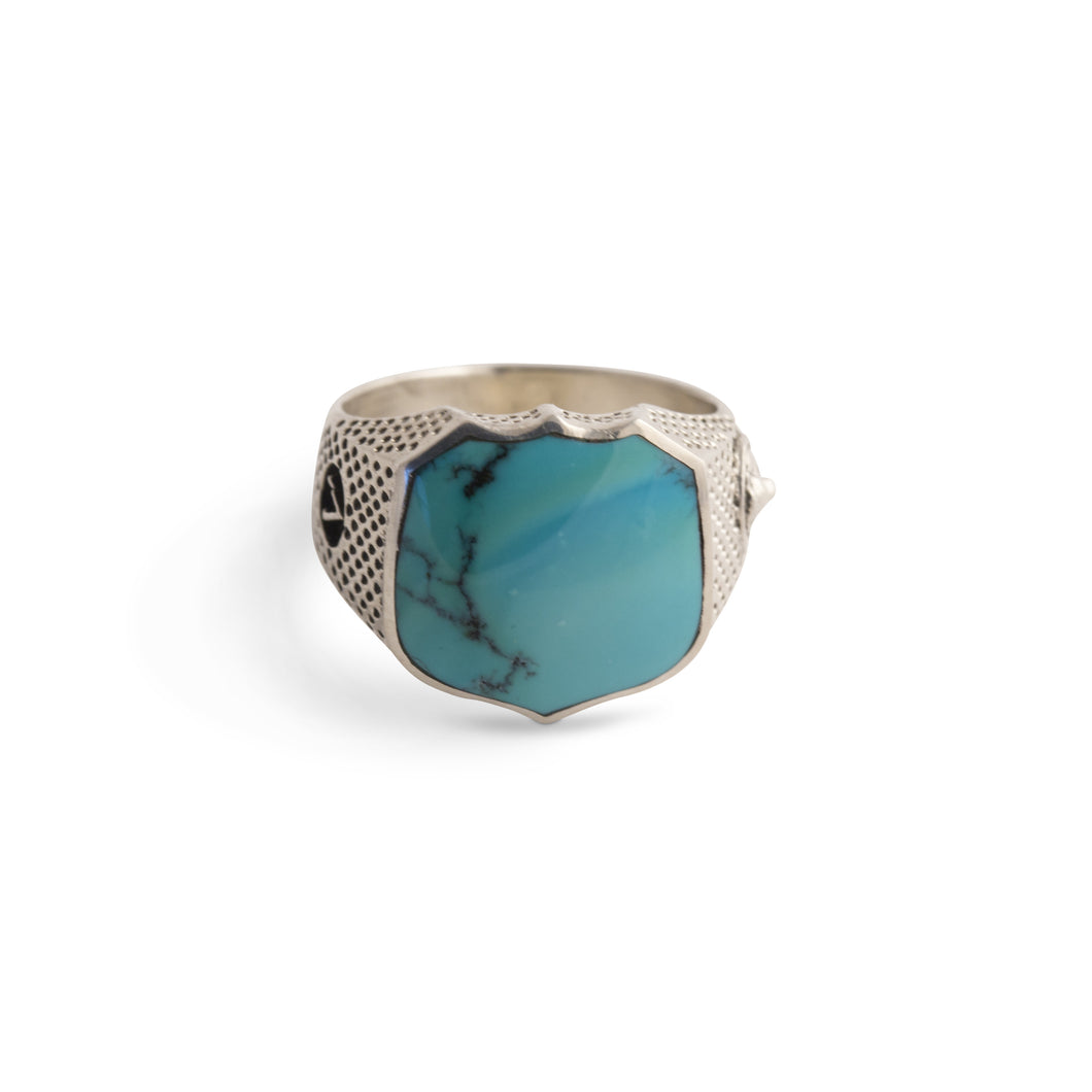 Heirloom Signet Ring with Turquoise in Sterling Silver
