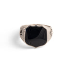 Heirloom Signet Ring with Black Onyx in Sterling Silver
